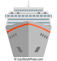 Cruise ship vector travel luxury sea boat front view