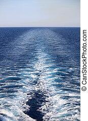 Cruise ship wake - Wake of a cruise ship on the open ocean