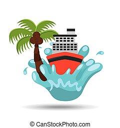 cruise ship water splash palm summer vacation