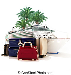 Cruise ship with luggage and palms in the background.