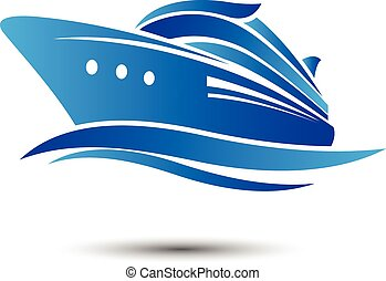 Cruise Ship with ocean liner vector. illustration