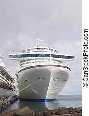 Cruise Ship with Wide Bridge Moored at Tropical Island