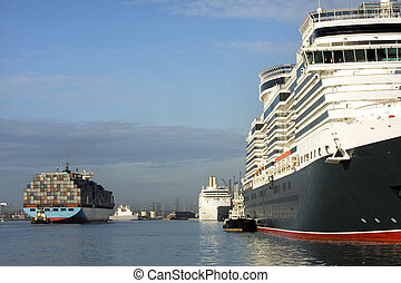 Cruise ships and containers