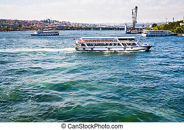 Cruise ships in Bosphorus, Istanbul, Turkey