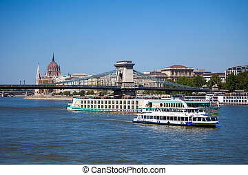 Cruise ships on Danube river in Budapest - Cruise ships on...