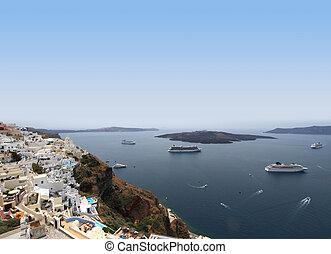 Cruise ships on Mediterranean sea in Santorini island