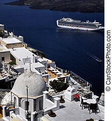 cruise the greek islands - cruise liner and island of...