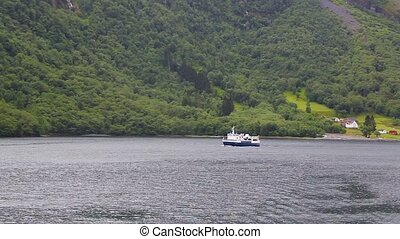 Cruise tourist ship leaving for voyage, Norway - Cruise...