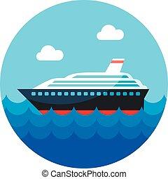 Cruise transatlantic liner ship icon. Vacation