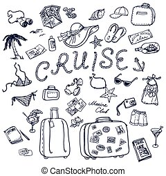 cruise Travel collection. - Hand drawn cruise time icons...