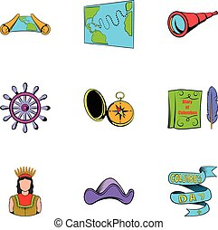 Cruise travel icons set, cartoon style