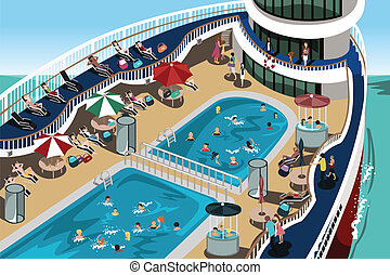 Cruise vacation - A vector illustration of people having a...
