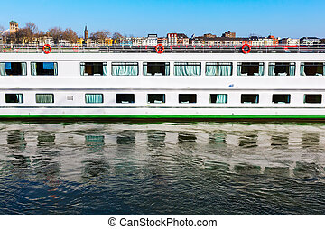 cruise vessel on the Rhine in Cologne
