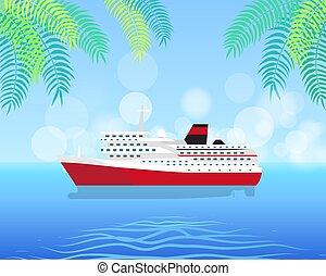 Cruise White Luxury Ship Isolated on Water Illustration