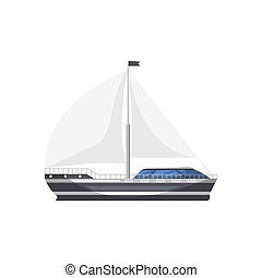 Cruise yacht side view isolated icon