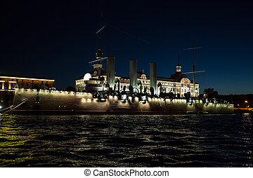 Cruiser Avrora in the city Sankt-Petersburg , - Cruiser...