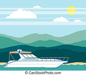 Cruiser Boat landscape shore