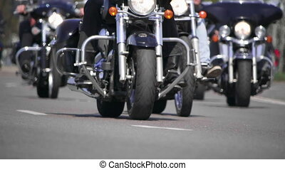 Cruiser motorcycles. Bottom view of a Bikers riding