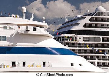 Cruiser in port of Kiel, Germany