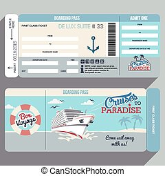 Cruises to Paradise. Cruise ship boarding pass flat graphic design template. Face and back side