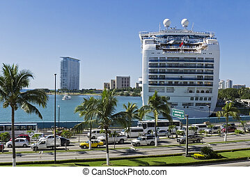Cruiseship docked in Puerto Vallarta - Cruiseship docked in...