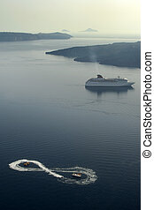 Santorini Greece - Cruiseship in oceanview from cliff face...