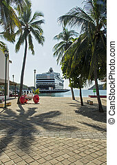 Cruiseship in tropical harbour - Cruiseship docked in...