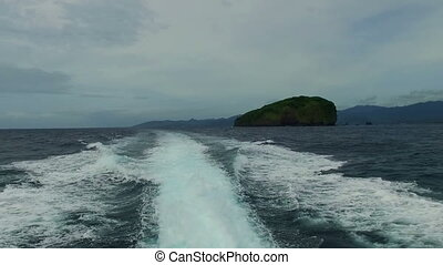 Cruising at high speed on the Bali sea Indonesia