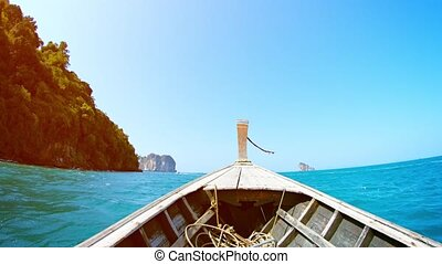 Cruising by a Tropical Island in a Handmade Wooden Motorboat...