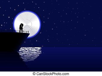 cruising love - vector romantic couple silhouette on the...
