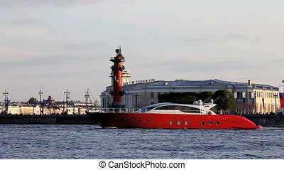 cruising motor yacht - The modern yacht in the background of...