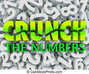 crujido, el, números, palabras, número, plano de fondo,...