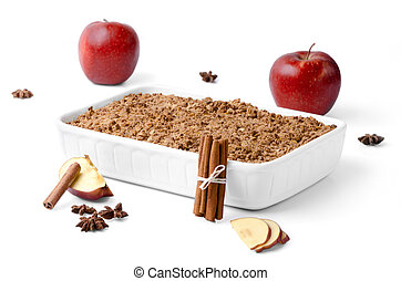 Crumble with apples and cinnamon