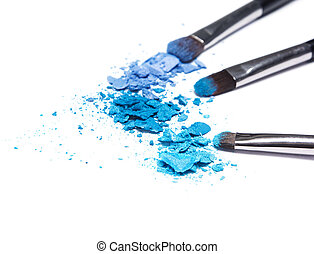 Crumbled compact blue eyeshadow different shades