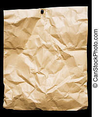 Crumbled Paper - Crumbled brown packing paper pined on a...