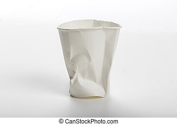 Crumbled white Paper cup - Crumbled White paper coffee cup...