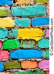 crumbling brick wall in different colors painted. Vertical.