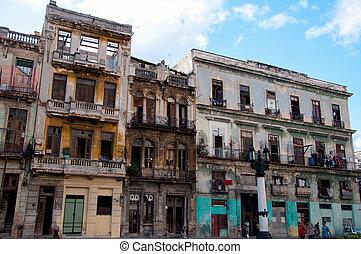 Crumbling buildings in the center of Havana