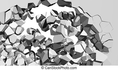 3d illustration of a crumbling concrete wall with debris and chunks of masonry cascading downwards from a large hole with white copy space behind