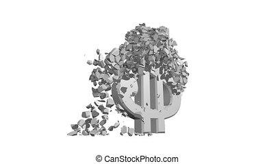 Crumbling Dollar Sign - A cement Dollar crumbling into...