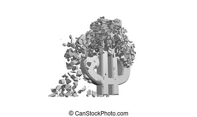 Crumbling Dollar Sign - A cement Dollar crumbling into...