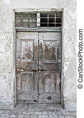 Crumbling door.