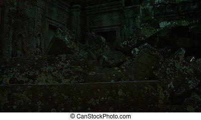 Crumbling Facade of an Ancient Cambodian Temple Ruin -...