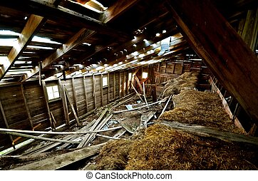 Crumbling Hayloft of a Barn