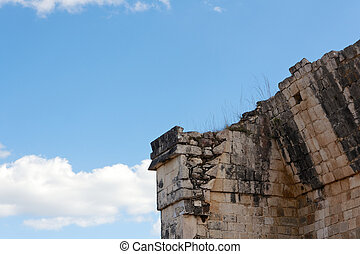 Crumbling Mayan Ruin Detail