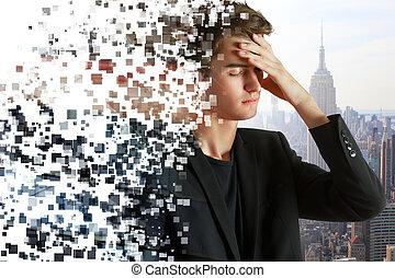 Crumbling pensive man portrait - Abstract crumbling pensive...