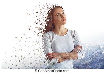 Crumbling pretty woman portrait - Abstract crumbling pretty...