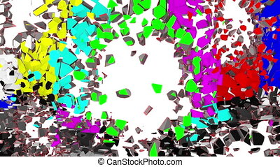"""Crumbling screen Transition - Exploding """"test pattern""""..."""