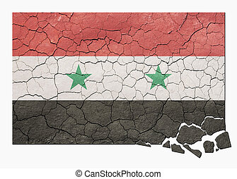 Faded, cracked, and aged texture, syrian flag with pieces crumbling off in lower flag bottom right.