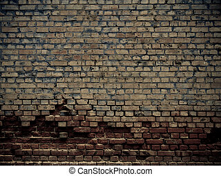 Crumbling wall - Old grunge crumbling brick wall